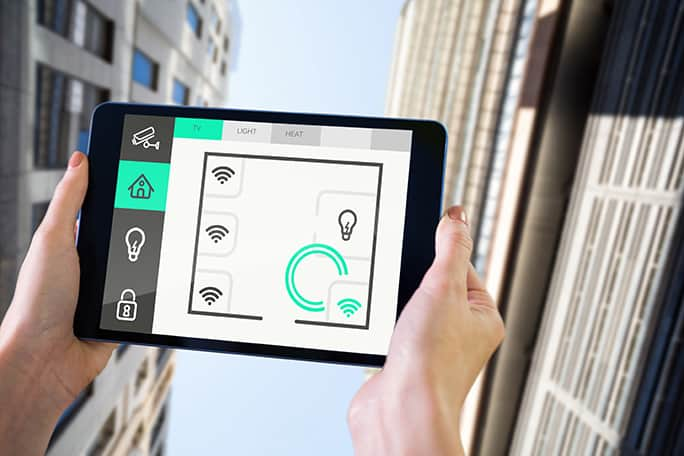 Tablet controlling networked lighting systems