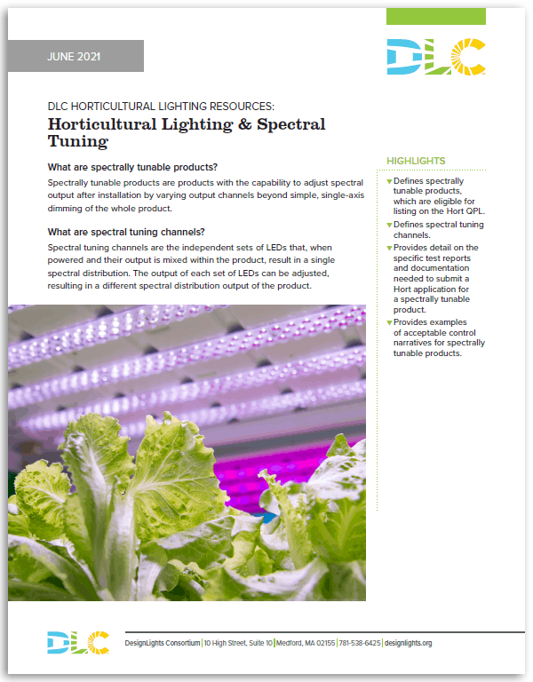 Horticultural Lighting and Spectral Tuning